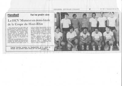 DNA 26 Mai 1977 HCVM en demi-finale de la Coupe du Haut-Rhin
